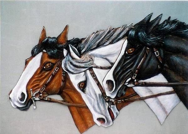 Horses Art Print featuring the painting The Winner Is. by Lilly King