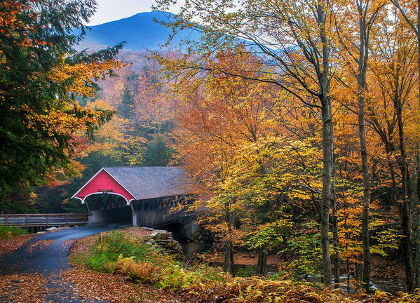 Covered Bridge Print featuring the photograph Essence Of New England - New Hampshire Autumn Classic by Thomas Schoeller