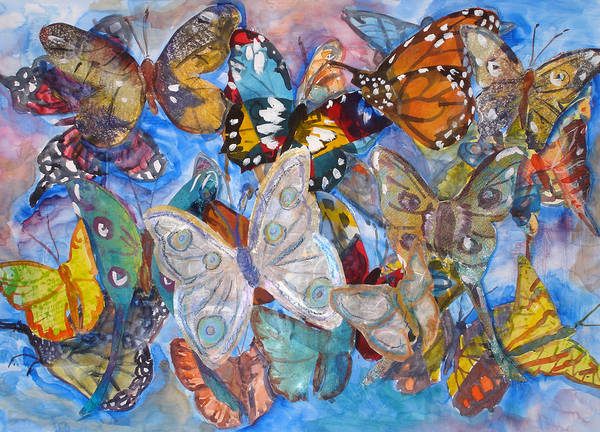 Butterfly Art Print featuring the mixed media Butterfly Collage by Joyce Kanyuk