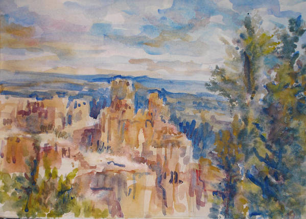 Landscape Art Print featuring the painting Bryce Canyon by Joyce Kanyuk
