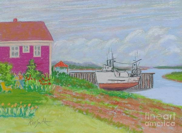 Boats Art Print featuring the pastel Boat At Low Tide by Rae Smith
