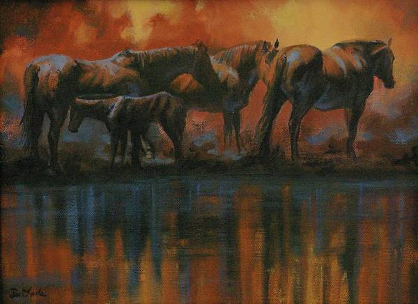 Horses Art Print featuring the painting Simmerdim by Mia DeLode