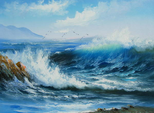 Seascape Art Print featuring the painting Breaking Up Is Hard To Do by Imagine Art Works Studio