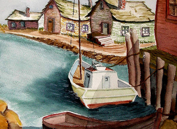 Fishing Village Art Print featuring the painting Bright Morning by Robert Thomaston