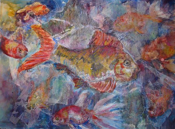 Fish Art Print featuring the mixed media Fish Fantasy by Joyce Kanyuk