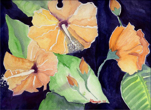 Orange Flowers Art Print featuring the painting Floral Affair by Janet Doggett
