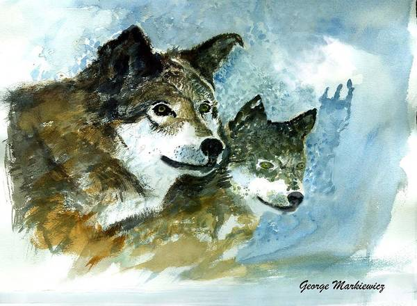 Wolves Art Print featuring the print Leader Of The Pack by George Markiewicz