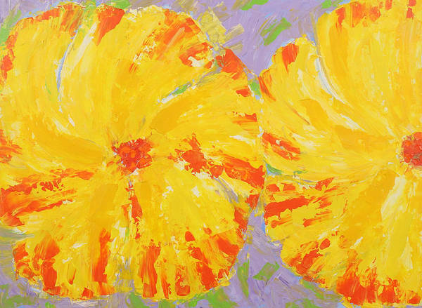 Contemporary Floral Painting Art Print featuring the painting One And A Half Flowers by Susan Rinehart