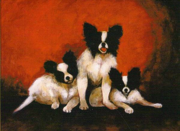Three Dogs Art Print featuring the painting Papillons by Christine McGinnis