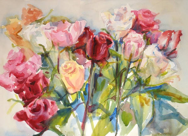 Roses Art Print featuring the painting Paul's Roses by Joyce Kanyuk