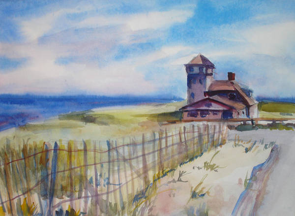 Provincetown Art Print featuring the painting Provincetown Ocean View by Joyce Kanyuk
