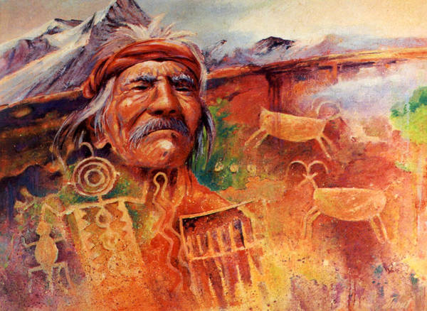 Indian Art Print featuring the painting Rock Art by Don Trout