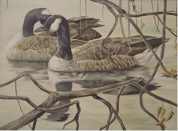Water Art Print featuring the painting A Pair Of Ducks by Wanda Dansereau