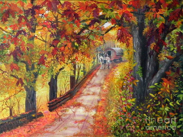 Scenery Art Print featuring the painting Autumn Dreams by Lora Duguay