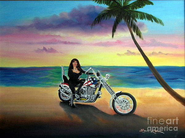 Harley Davidson Art Print featuring the painting Captain America by Lora Duguay