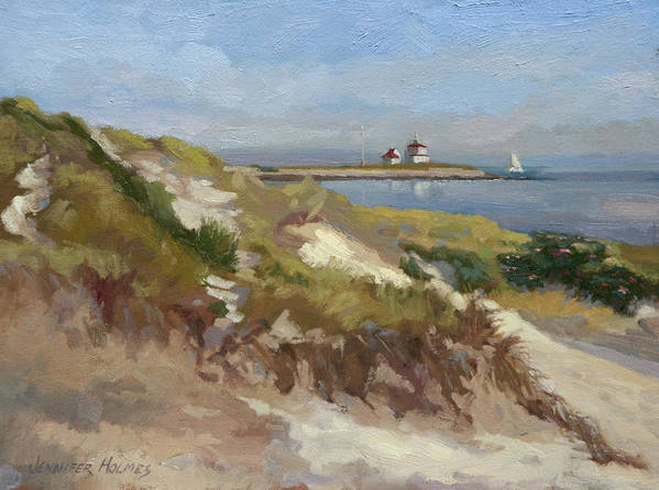Seascape Art Print featuring the painting Dunes Of Napatree With Watchhill Light by Jennifer Holmes