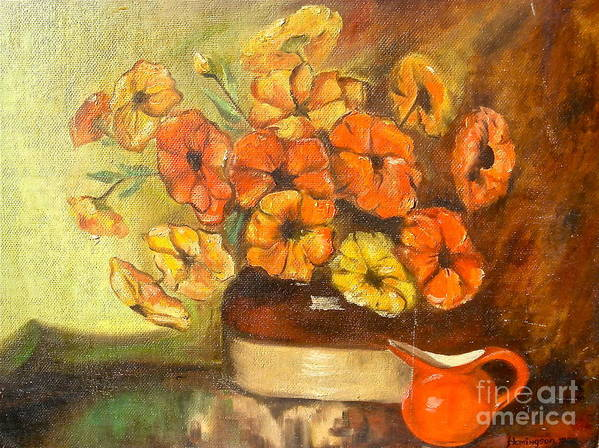 Mums In Bean Pot Art Print featuring the painting Flowers And Red Pitcher by Virginia Ann Hemingson