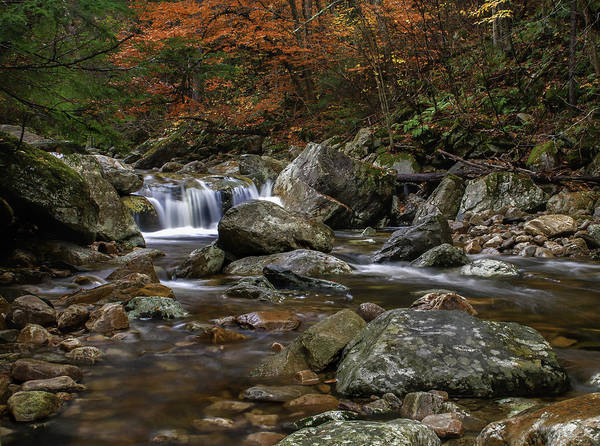 Roaring Brook Art Print featuring the photograph Roaring Brook - Sunderland Vermont Autumn Scene by Thomas Schoeller