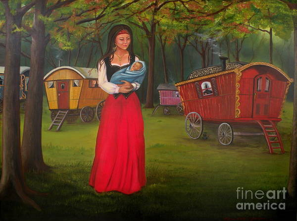 Mother And Child Art Print featuring the painting Romany Mother And Child by Lora Duguay