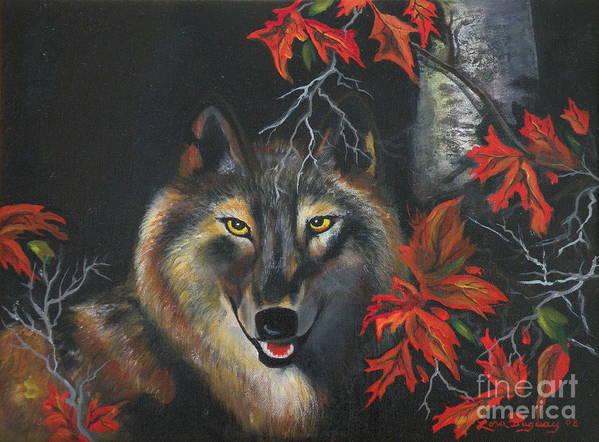 Wolf Art Print featuring the painting Seneca by Lora Duguay