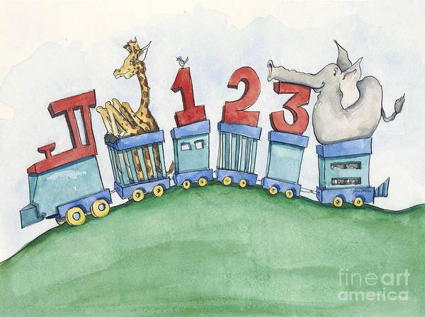 Wall Art Art Print featuring the painting 123 Animal Train by Annie Laurie