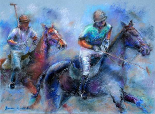 Polo Horses Art Print featuring the pastel The Game Is On by Bonnie Goedecke