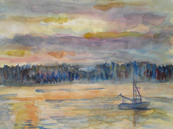 Alaska Art Print featuring the painting Alaskan Fishing Boat Sunrise by Joyce Kanyuk