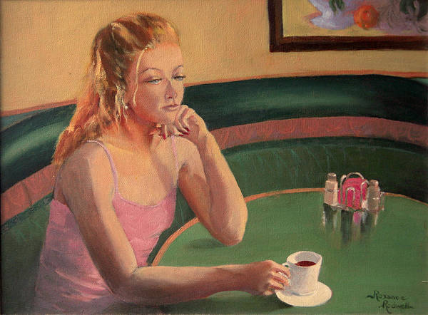 Figure Art Print featuring the painting Coffee And Contemplation by Roxanne Rodwell