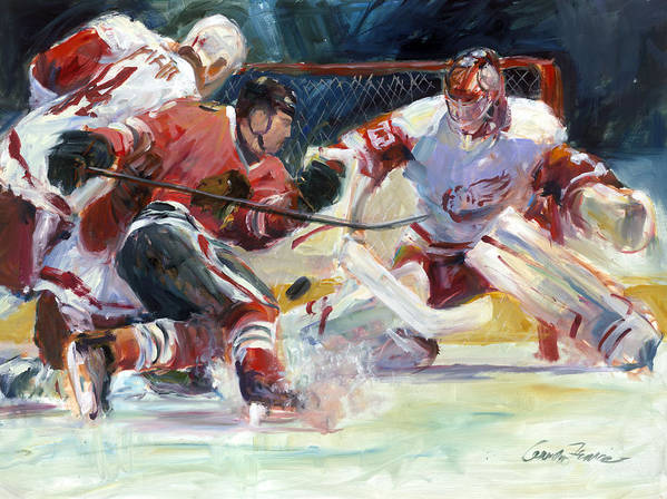 Sports Chicago Blackhawks Detroit Red Wings Hockey Goalmouth Action Print featuring the painting Crashing The Net by Gordon France