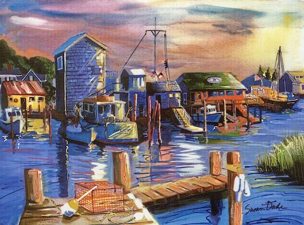 Boats Art Print featuring the painting Daybreak by Susan Dade
