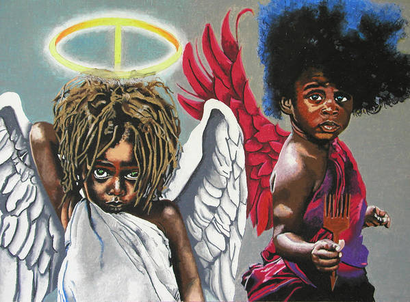 Black Art Art Print featuring the painting Hells Little Angels by Andre Ajibade