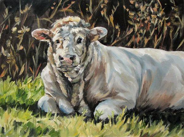 Cattle Art Print featuring the painting Idyll Moment by Cheryl Pass