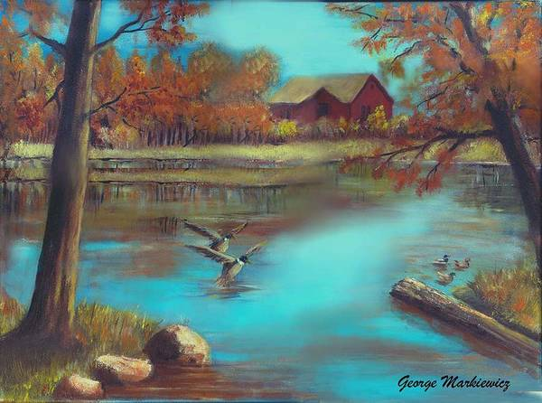 Lake Landscape Art Print featuring the print Muskego Lake by George Markiewicz