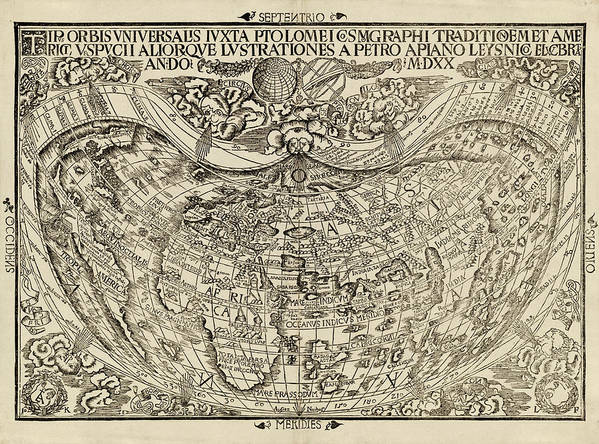 Old World Map By Peter Apian 1520 Art Print By Blue Monocle