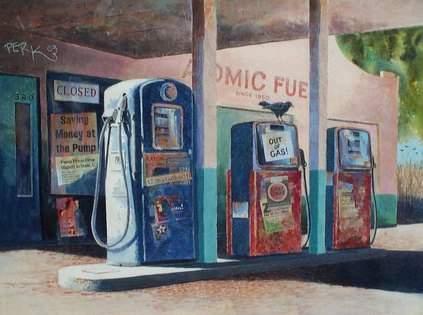 Nostalgic Genre Art Print featuring the painting Out Of Gas by Don Trout
