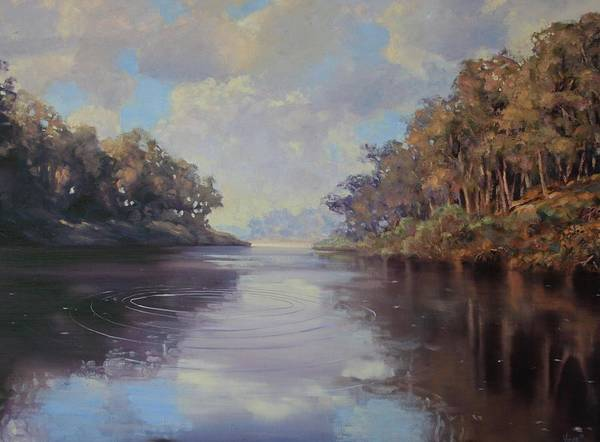 Oil On Canvas Art Print featuring the painting River Peace by Michael Vires
