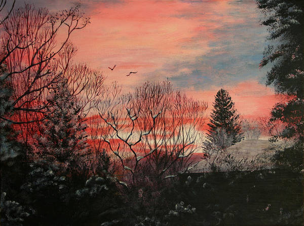 Wyoming Art Print featuring the painting Riverton Sunset by Karen Peterson