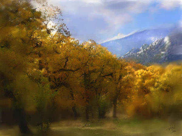 Autumn Art Print featuring the digital art Solitude In Gold by Stephen Lucas