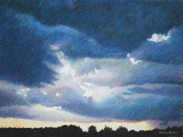 Cloudscape Art Print featuring the painting Somewhere The Sun Is Shining by Gainor Roberts
