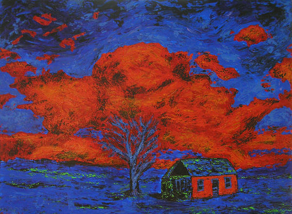 House Art Print featuring the painting Reflections Of The Storm by Ricklene Wren
