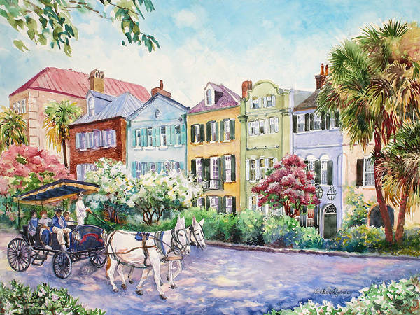 Charleston Art Print featuring the painting Assault And Battery On Rainbow Row by Alice Grimsley
