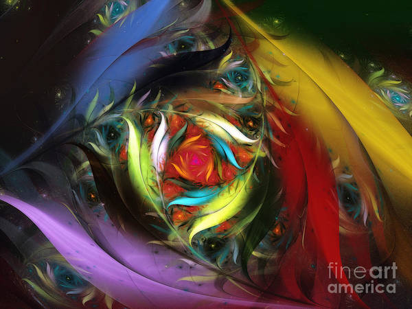 Abstract Art Print featuring the digital art Carribean Nights-abstract Fractal Art by Karin Kuhlmann