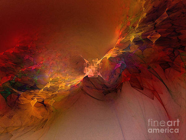 Abstract Art Print featuring the digital art Elemental Force-abstract Art by Karin Kuhlmann