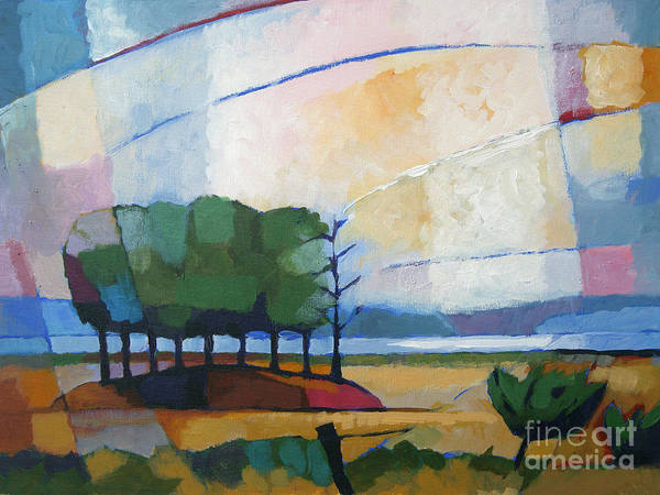 Landscape Art Print featuring the painting Evening Landscape by Lutz Baar