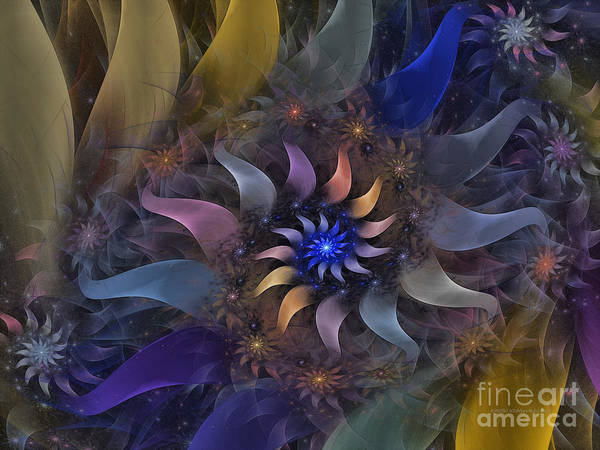 Abstract Art Print featuring the digital art Flowery Fractal Composition With Stardust by Karin Kuhlmann