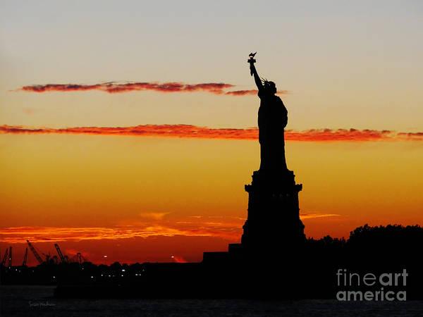 Susan Wiedmann Art Print featuring the photograph Lady Liberty At Sunset by Susan Wiedmann