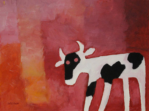 Little White Cow Art Print featuring the painting Little White Cow by Lutz Baar