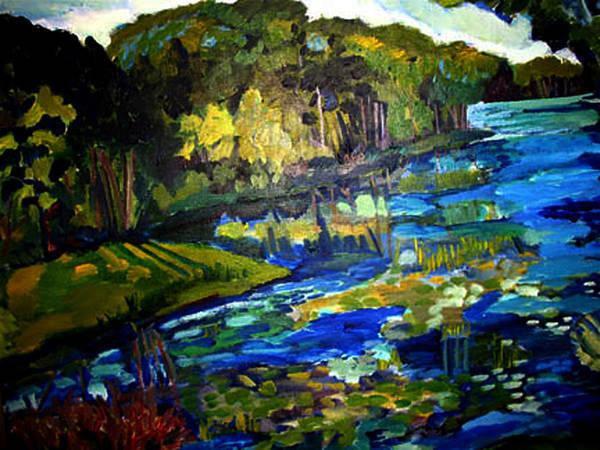 Landscape Of Lake Art Print featuring the painting Lore Lake by Doris Lane Grey