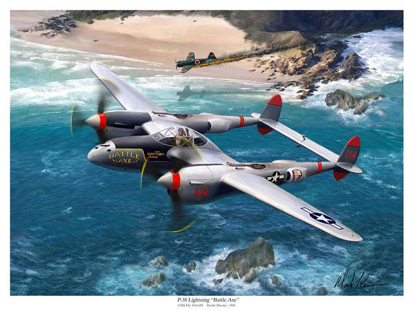 Airplanes Art Print featuring the painting P-38 Lightning Battle Axe by Mark Karvon