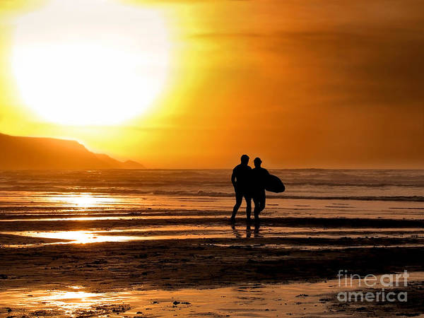 Silhouette Art Print featuring the photograph Sunset Surfers by Richard Thomas